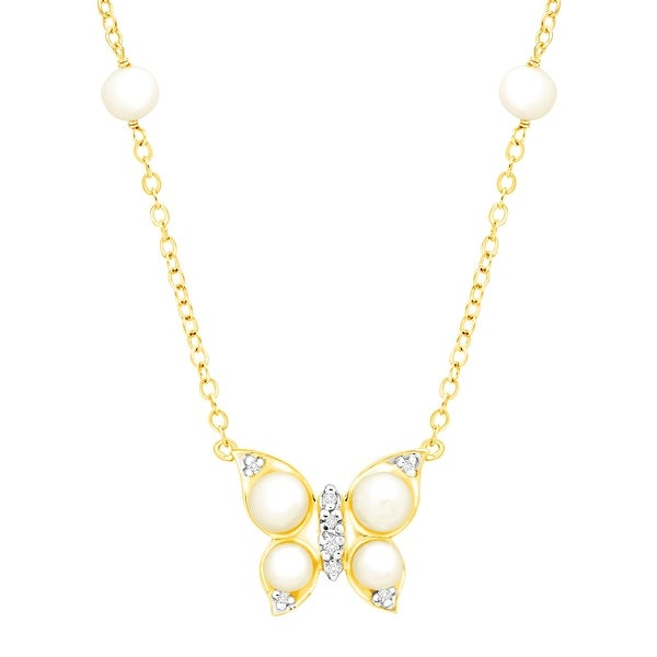 Freshwater Pearl Butterfly Necklace with Diamonds in 14K Gold