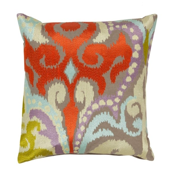 """20"""" Fire Storm Red and Gray Contemporary Patterned Decorative Throw Pillow"""