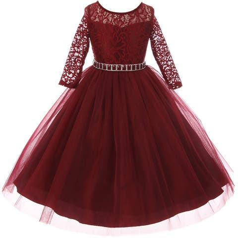 Classic Lace Pageant Wedding Flower Girl Dress Burgundy MBK 372