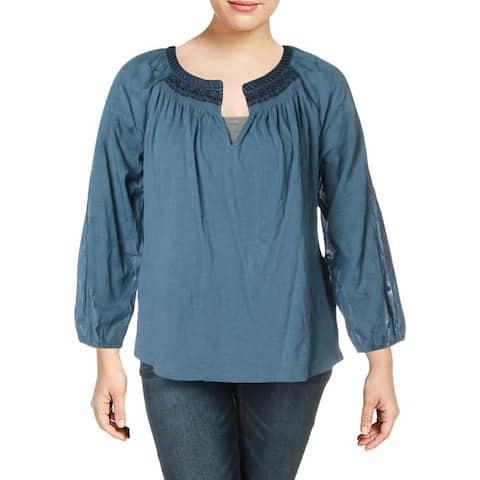 Lucky Brand Womens Plus Peasant Top Split Neck Long Sleeves - Blue