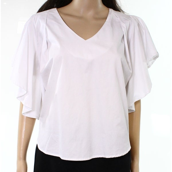 4facbebbeae Giamba ruffle sleeve blouse Source · Mello Day White Women s Size Large L V  Neck Ruffle Sleeve Blouse