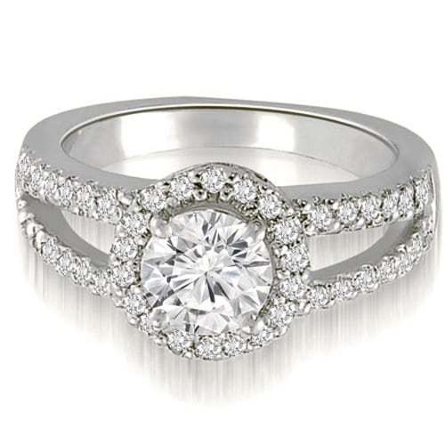 1.42 cttw. 14K White Gold Halo Split-Shank Round Cut Diamond Engagement Ring