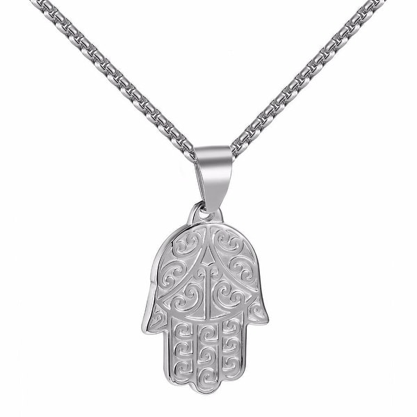 "Hamsa Hand Good Luck Pendant Evil Eye Box Necklace 24"" Stainless Steel Hip Hop"