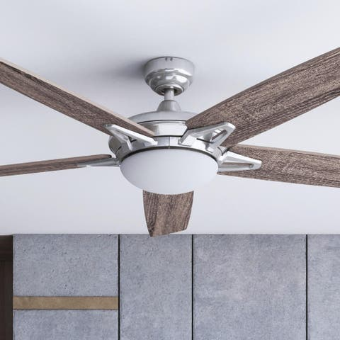 """52"""" Prominence Home Clancy Indoor Modern Ceiling Fan with Remote, Brushed Nickel"""