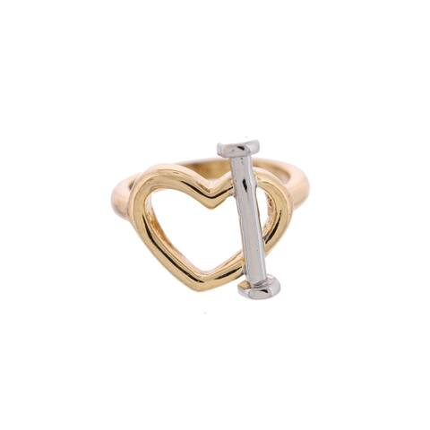 Marc by Marc Jacobs Womens Love Edge Right-Hand Ring Heart Two-Tone - S/M