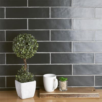 "SomerTile Chester Matte Nero 3"" x 12"" Ceramic Wall Subway Tile"