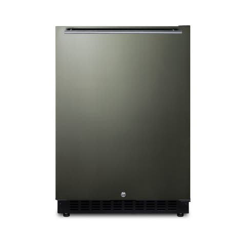 "Summit AL54KSHH 24"" Wide 4.8 Cu. Ft. Compact Refrigerator with Fingerprint Resistant Finish - Black Stainless Steel"