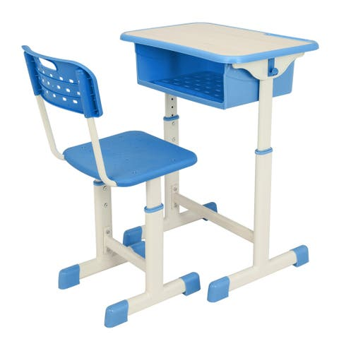 Height Adjustable Student Kids' & Childrens Desk and Chair Kit (Set of 2)