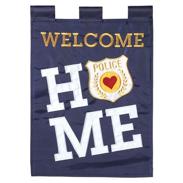 "Gray and White Police Rectangular Garden Flag 18"" x 13"" - N/A"