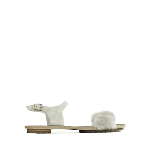 Brunello Cucinelli Womens Grey Leather Mink Fur Flat Sandals IT37/US7~RTL$1545