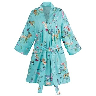 La Cera Women's Butterfly Garden Shortie Robe - Belted Cotton Kimono