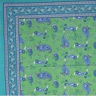 Handmade Cotton Paisley Floral Tapestry Bedspread Tablecloth Throw 64x90 Green Twin Full