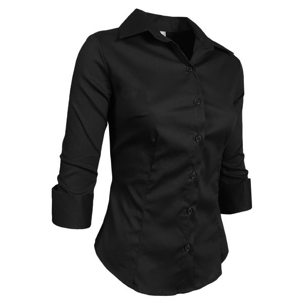 NE PEOPLE Roll Up 3/4 Sleeve Button Down Shirt with Stretch