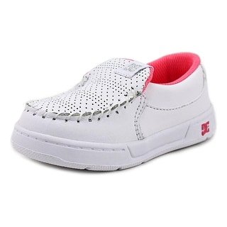 DC Shoes Villain Toddler  Round Toe Leather White Loafer