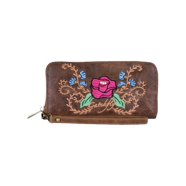 Catchfly Western Wallet Womens Wristlet Rose Sydney Chestnut - 7 1/2 x 1 x 3 3/4