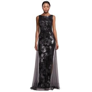 Theia Metallic Jacquard Tulle Overlay Sleeveless Evening Gown Dress Black/Silver - 6
