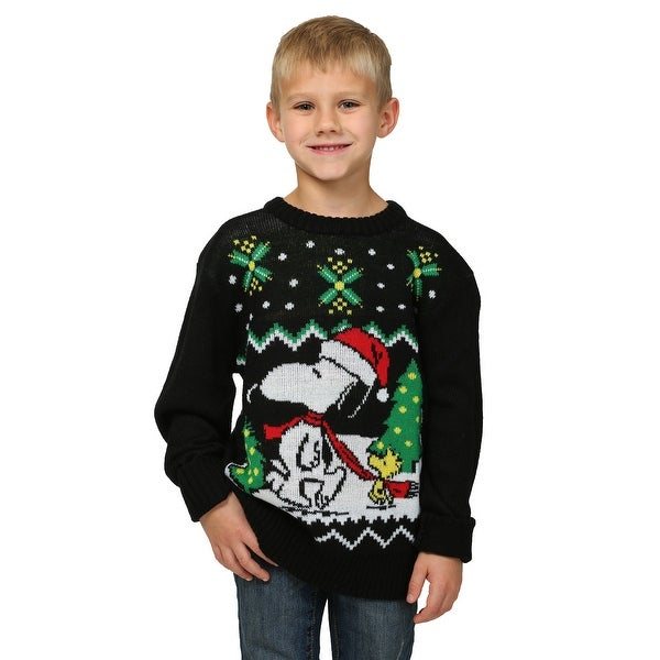Toddler Boys Peanuts Snoopy /& Woodstock Ugly Christmas Tree Holiday Sweater