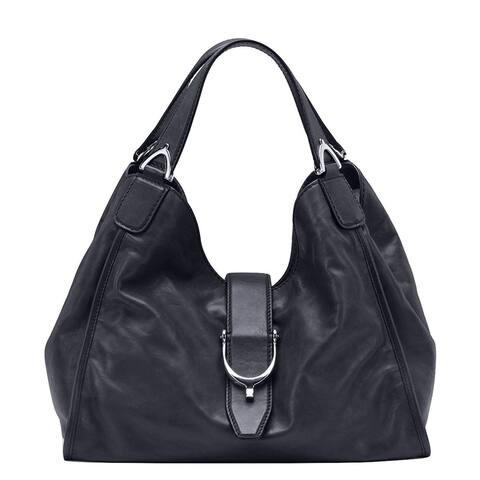 7e9eb03b276e Gucci Stirrup Black Washed Soft Calf Leather Medium Hobo Bag 296856 1000