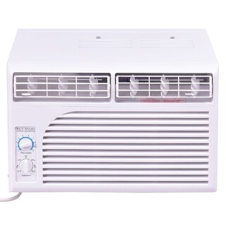Costway 5K BTU White Compact 115V Window-Mounted Air Conditioner w/ Mechanical Control