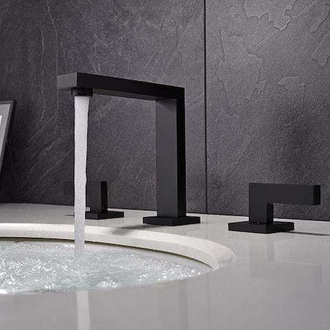 "Bathroom Vanity Sink Faucet 2 Handle 3 Hole Basin Deck Mount, Black - 14.6""x11""x2.8"""
