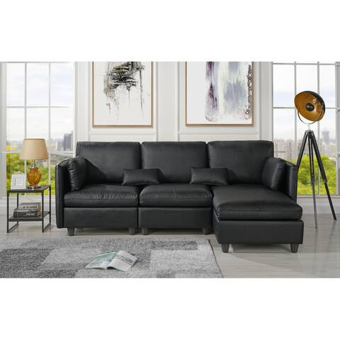 Classic Leather Match Sectional Sofa with Chaise