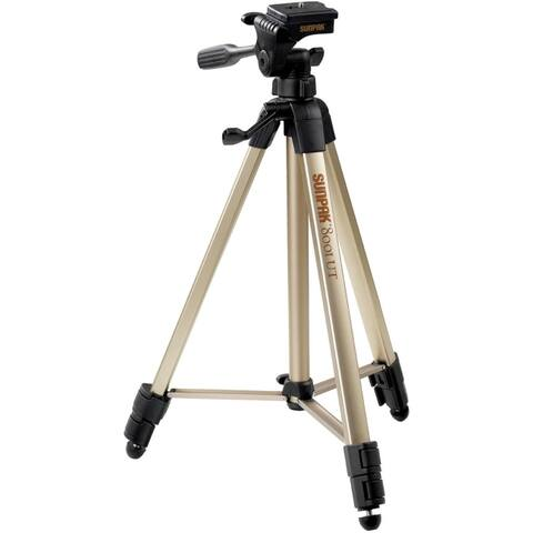 Sunpak 620-080 tripod with 3-way pan head (folded height: 20.8; extended height: 60.2; weight: 2.3lbs; includes 2nd