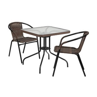Offex 28'' Square Glass Metal Table with Dark Brown Rattan Edging and 2 Dark Brown Rattan Stack Chairs