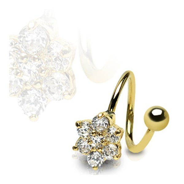 """Gold Plated Stainless Steel Twist with Gem Paved Flower - 16GA 3/8"""" Long"""
