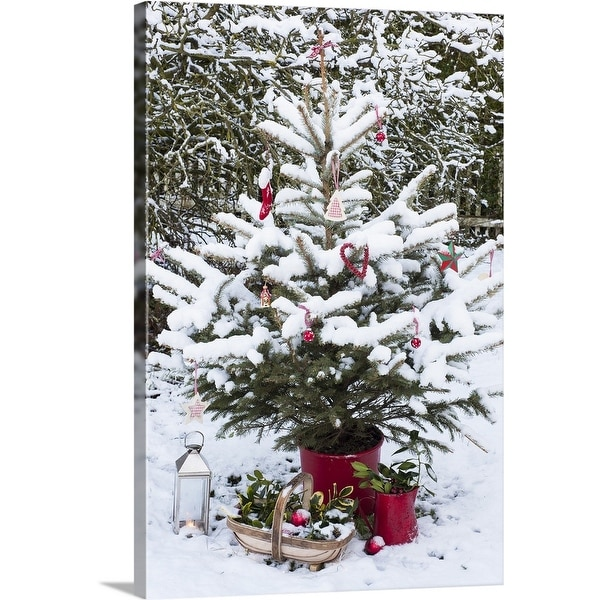 """""""Snowy Christmas tree with decorations"""" Canvas Wall Art"""