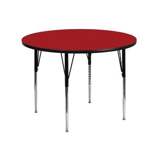 Offex 42'' Round Activity Table with Red Thermal Fused Laminate Top and Standard Height Adjustable Legs