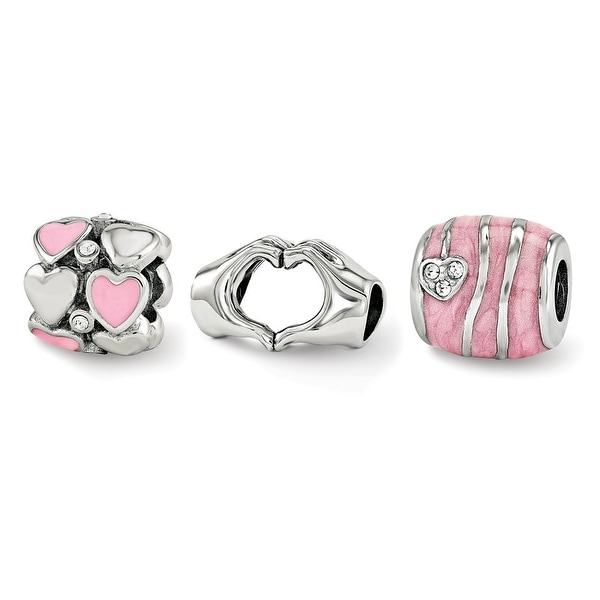 Sterling Silver Reflections Hearts of Love Boxed Bead Set