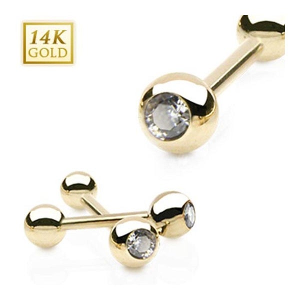 14 Karat Solid Yellow Gold Clear CZ Gem Ball Top Barbell (Sold Ind.)