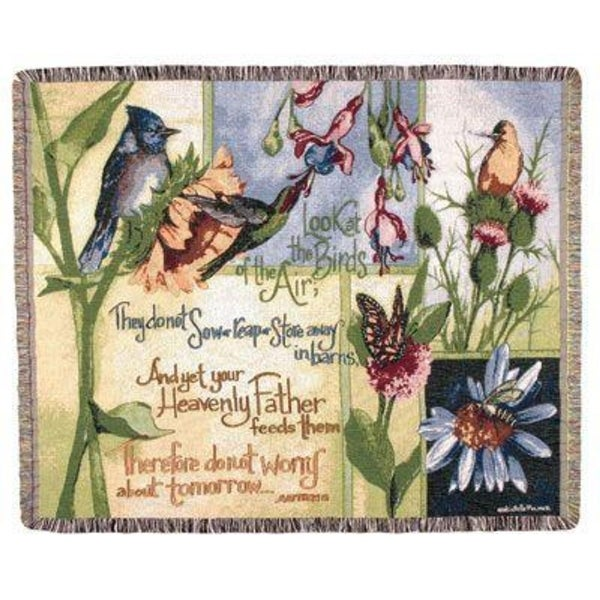"""Exquisite Birds of the Air Religious Verse Tapestry Throw Blanket 50"""" x 60"""""""