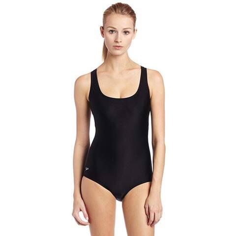 Speedo Women's Aquatic Moderate Ultraback Swimsuit, Black, 18