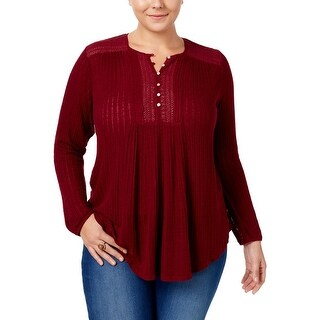 Lucky Brand Womens Plus Henley Top Ribbed Knit Long Sleeves