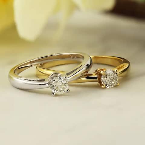 Auriya 14k Gold 1/3ctw Round Solitaire Diamond Engagement Ring