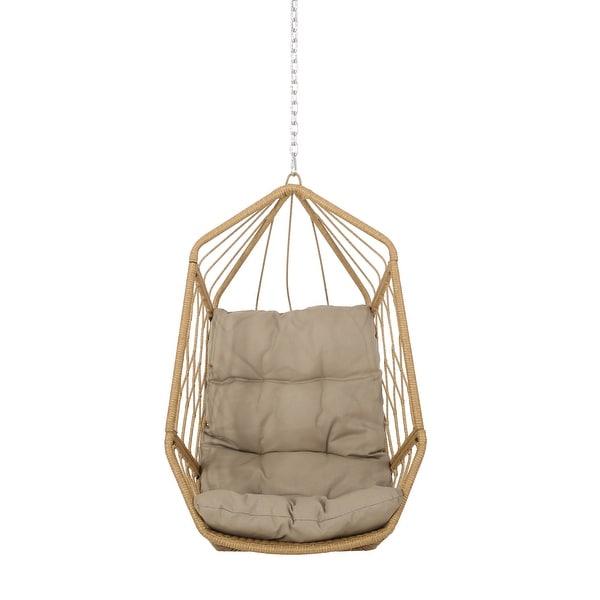 Tassel Plus Pillow Hanging Chair Beige Fabric Black Rope 1.5*1.2m