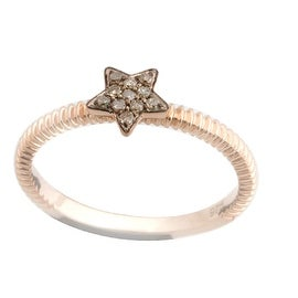 Brand New Round Brilliant Cut Real Natural Brown Diamond Star Shaped Fancy Ring