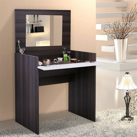 Simple dressing table with storage function-ebony + white