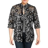 Alex Evenings Womens Plus Blazer Mesh Embroidered - 2X