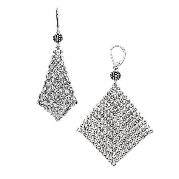 Aya Azrielant Mesh Earrings Swarovski Crystals in Sterling Silver - White