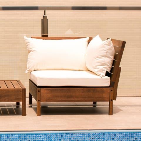 Kiobu Eucalyptus Wood Outdoor Corner Chair with Cushions by Havenside Home