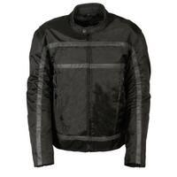 Mens Textile Reflective Stripe Racer Jacket