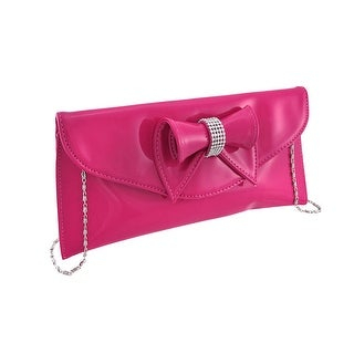 Glossy Clutch Purse with Rhinestone Accented Bow (Option: Hot Pink)
