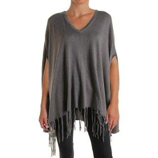 MICHAEL Michael Kors Womens Fringe V-Neck Poncho Sweater