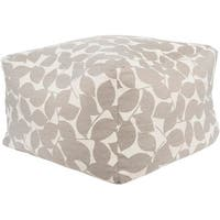 "22"" Medium Gray and Ivory Leaf Sunbrella Square Outdoor Patio Pouf Ottoman"