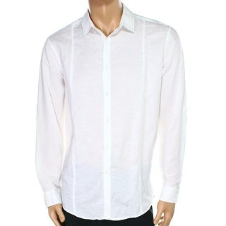 INC NEW White Seamed Linen Benld Mens Size Small S Button Down Shirt