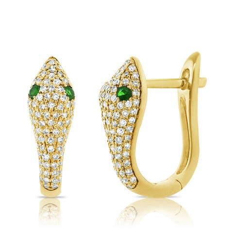 Snake Earrings Tsavorite & Diamond 14K Gold by Joelle Collection