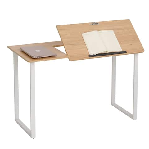 HOMCOM Computer Desk with Adjustable Tabletop for Home & Office, Oak