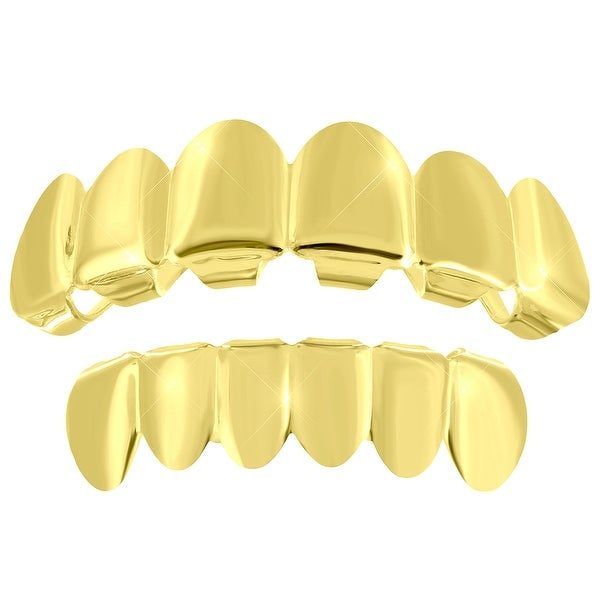 Top Bottom Grillz Set Solid 14K Gold Finish On Sale New In Style